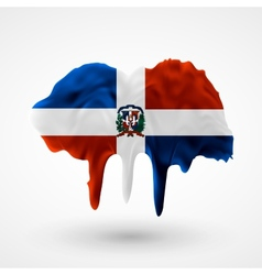 Flag of dominican republic painted colors vector
