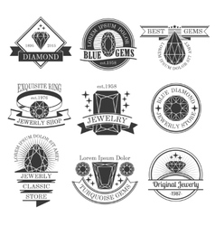 Gemstones Black White Emblems Set vector image vector image