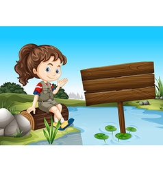 Girl sitting by the river vector image vector image