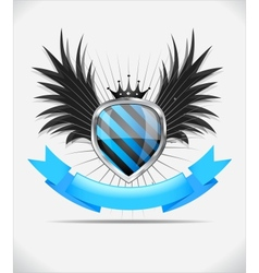 Glossy shield emblem on white background vector image vector image