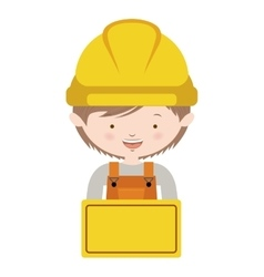 Half body avatar worker with toolkit and brown vector