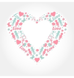 heart with love symbols vector image vector image