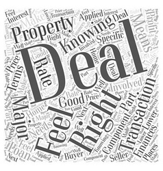 Knowing When You Have the Deal Word Cloud Concept vector image vector image