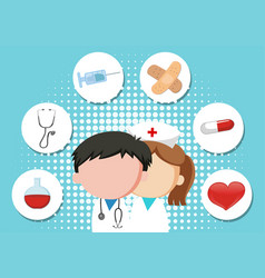 medical theme background with doctor and vector image vector image