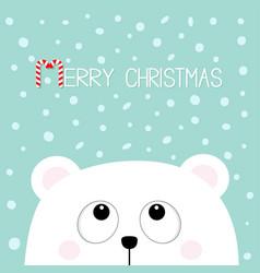 merry christmas candy cane polar white little vector image