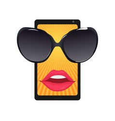 mobile phone with sun protective goggles and femal vector image vector image