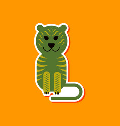 paper sticker on stylish background cartoon tiger vector image vector image