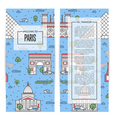 Paris traveling flyers set in linear style vector