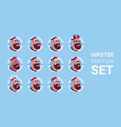 Profile icon male emotion avatar set hipster man vector