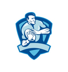 Rugby player running with ball with shield vector image vector image