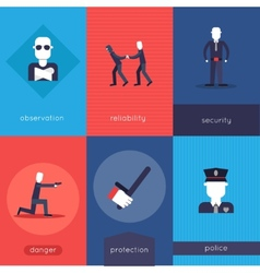 Security guard mini poster set vector