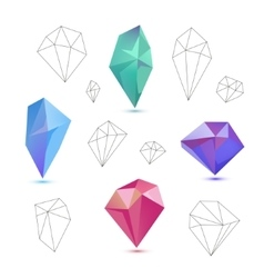 Set of colorful 3d and line diamonds vector