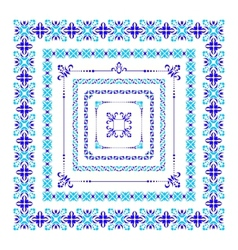 Set of isolated blue folk frame vector image vector image