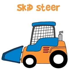 Skid steer cartoon art vector