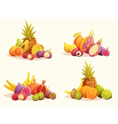 Tropical Fruits 4 Colorful Compositions Set vector image