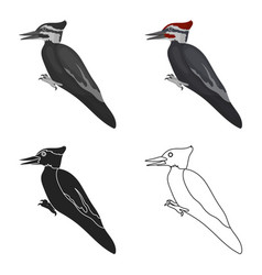 Woodpecker icon in cartoon style isolated on white vector