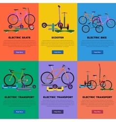 Set of self-balancing electric scooters icons vector