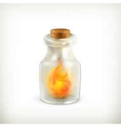 Fire in a bottle icon vector