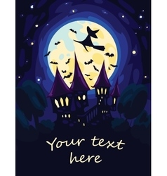 Halloween Art with Moon Castle and flying Witch vector image