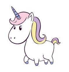 cute unicorn drawn icon vector image