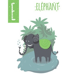 Vertical of elephant with colorful jungle vector