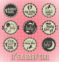 Its a Girl Labels and Icons vector image