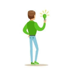 Man holding a green energy lamp contributing vector
