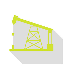 Oil drilling rig sign pear icon with flat style vector