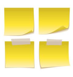 Yellow sticky note with adhesive tape isolated on vector