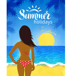 Poster with young woman on beach vector