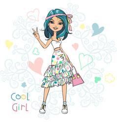Cute fashionable girl vector