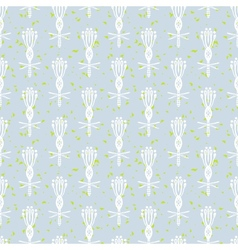White pattern with stylized flowers vector image