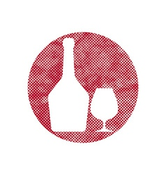 Glass and bottle of cognac icon with pixel print vector