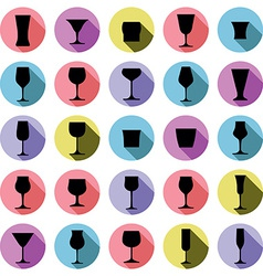 Classic goblets collection martini wineglass vector