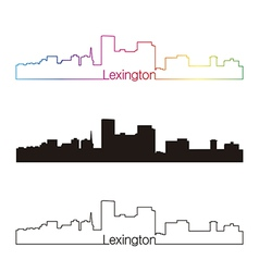 Lexington skyline linear style with rainbow vector