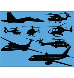 Airplanes and helicopters vector