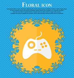Joystick sign icon video game symbol floral flat vector