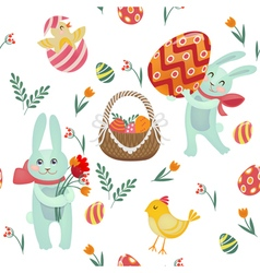 Happy easter seamless pattern with bunnies chicks vector