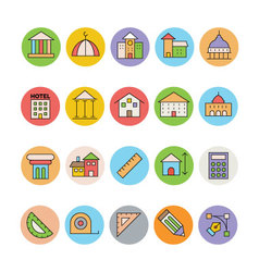 Architecture and buildings icons 2 vector