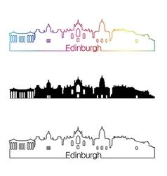 Edinburgh skyline linear style with rainbow in vector