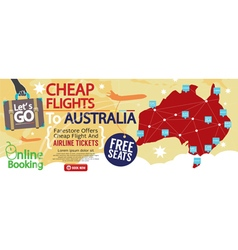 Cheap flight to australia 1500x600 banner vector