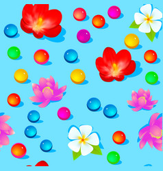 A bright seamless background with flowers and vector