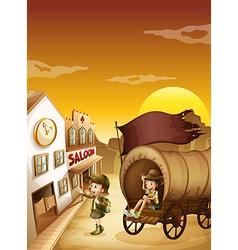 A wagon with kids near a saloon vector