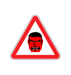 Angry boss warning sign red evil head hazard vector