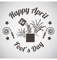 April fools day emblem vector image