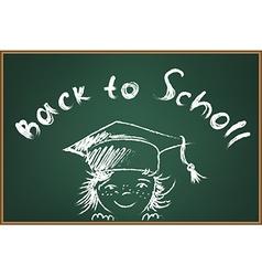 Back to school on green schooboard vector