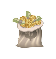 Bank bag with coins and bills inside vector