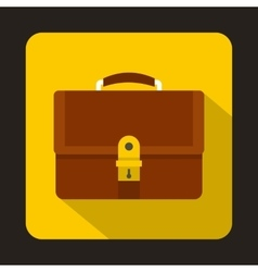 Business brown briefcase icon flat style vector image