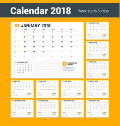 calendar template for 2018 year business planner vector image vector image