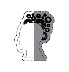 contour human with bubbles icon vector image vector image